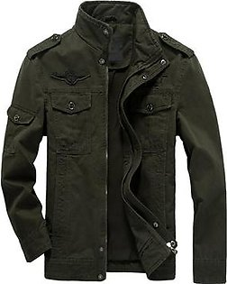 Men Casual Jacket Washed Stand Collar Handsome Outwear Coat