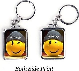 Custom Design Smiley icon Both Side Printed Metal Keychain