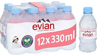 Pack Of 12 : Evian Naturally Pure Drinking Water - 330 ml
