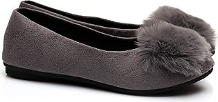 Grey Fluffy Shoes For Girls - Made In USA