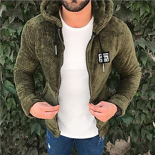 Mens New Fashion Casual Zipper Loose Double-Sided Plush Hooded  Jackets