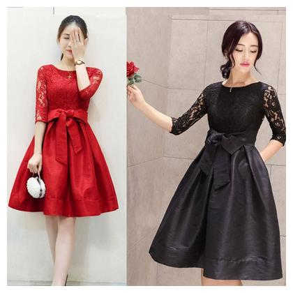 Hot Selling Pack of 2 Combo Deal Red and Black Women Net frock with bow belt Frock by Tshirt Waly