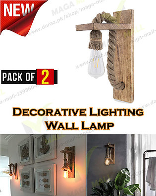 Pair of Vintage Wooden Rope Lamp, Creative Metal Shade Wall Lamp for Living Roo…