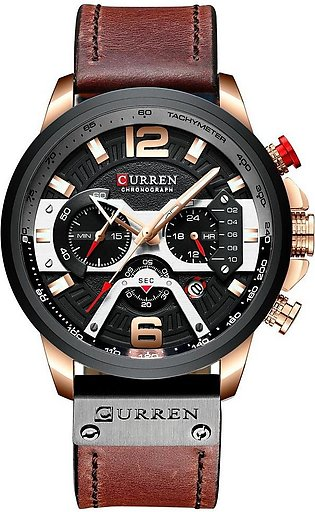 Curren Mens Watch Business Chronograph Quartz Watch Luxury Leather Sport Wate...