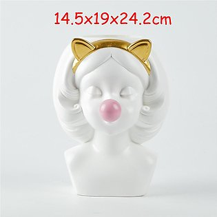 【To Global】Nordic Creative Vase Cat Flower Arrangement Pot Silicone Sculpture...
