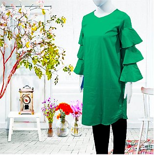 eStitch Flared Sleeve Top for Women and Girls Kurti in Green  Cotton for Ladies