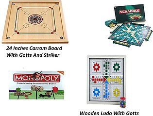 Board Games Carrom Board , Wooden Ludo , Monopoly , Scrabble
