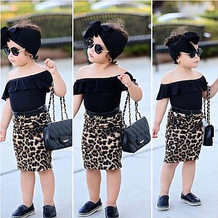 Baby girl clothes set 1-6 Years Leopard Print 2 Piece Set