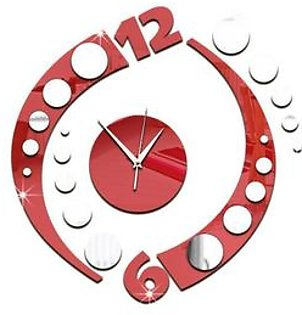 GZ046 Stereo Mirror Wall Clock Study Bedroom Living Room Silent Wall Clock