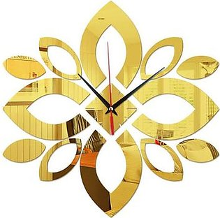 acrylic Wall Clock Solid geometric lotus pattern acrylic mirror wall clock