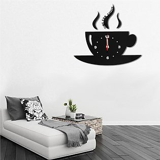 Modern Large Black Wall Clock Home Decoration Kitchen Dining Room ( CUP )