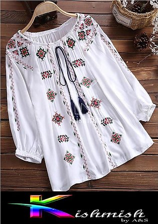 Stylish Short Length Embroidered Frock Kurti For Ladies
