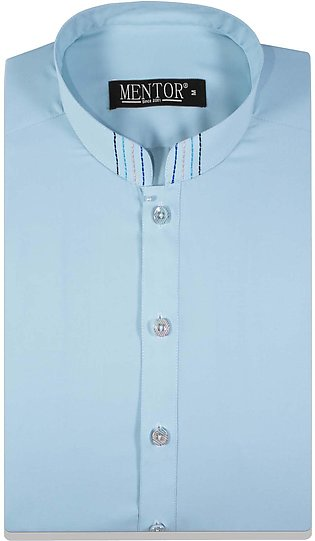 Crystal Blue Wash n Wear anchor thread design Mens Kurta