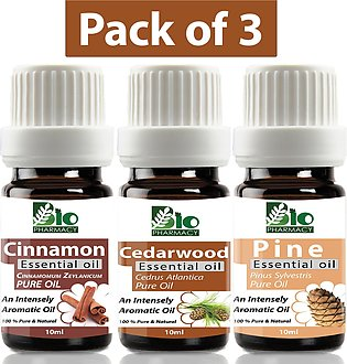 Set of 3 Essential Oils Aromatherapy Essential Oil -  Cedarwood, Cinamon, Pin...