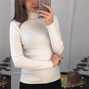 Turtleneck Solid Color Pullover Long Sleeve Knit Women Casual Sweaters