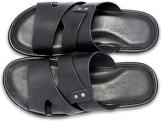 Reefland Black Synthetic Leather Slippers for Men-STUD 4200