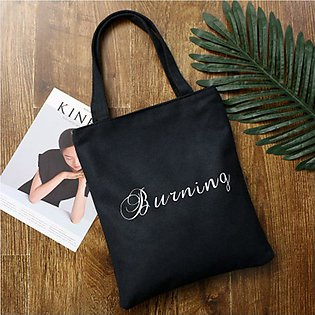Canvas Shopping Bag Tote Shoulder Bag School Books Travel Girl Simple art
