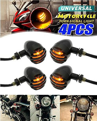 Pack of 4 - Motorcycle Grill Harley Cafe Racer Style Turn Signal Lights Indicat…