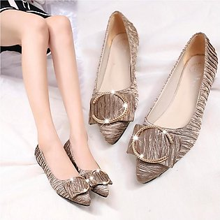 Women's Fashion Ladies Metal Shallow Single Flat Pointed Toe Casual Shoes