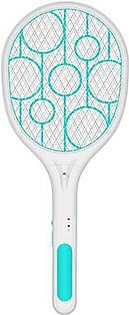Electric Fly Swatter Rechargeable With Led Lights Electric Bug Fly Mosquito Swatter Killer Racket 3-Layer Net Safe Blue+White