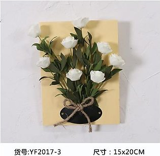 DIY Artificial Flowers for Decoration Wooden Board Wall Hanging Artificial Flowers Plastic Silk Flowers for Wedding Decoration