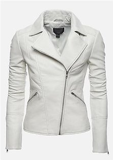 Feather Hide Ariana White Men, Women and kid Biker Motorcycle White Leather Jacket
