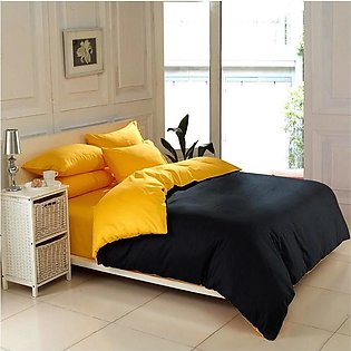 Beddys Studio Solid Colour 6 Pcs Yellow and Black Comforter Cover Set