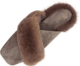 Womens Warm Non-Slip On Sliders Fluffy Faux Fur Flat Slippers Flip Flop Sandals
