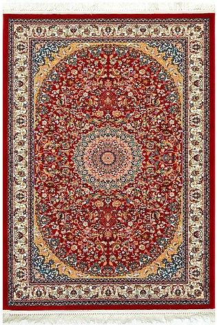 5 x 7 Hand Look Machine Made Red Color Tabraiz Area Rug & Carpets, Made synth...