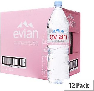 PACK OF 12 : EVIAN NATURAL MINERAL WATER 1.5 LTR
