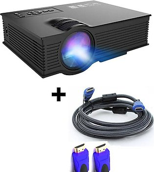 UNIC Projector 1800 Lumens for Office/PPT - UC68 + 3 meter HDMI Cable