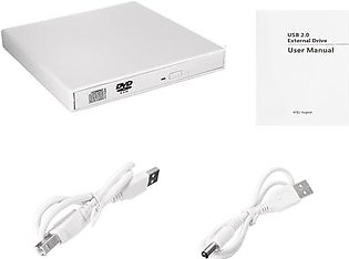 USB 2.0 External Blu-ray Combo DVD/CD Burner RW Drive for PC Laptop Windows Mac #white