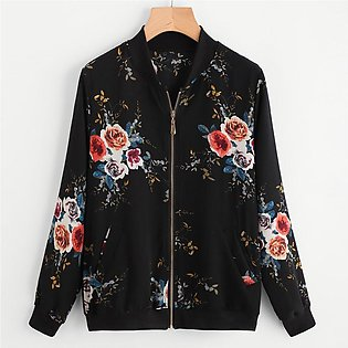 Womens Retro Floral Printing Zipper Up Bomber Jacket Casual Coat Outwear