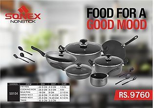 SONEX Stylish Gift Pack Cookware Set - 16 Pieces - Non Stick Coating - Black
