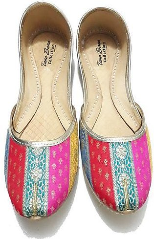 Leather Khussa Shoes for Women-K-036-Multi