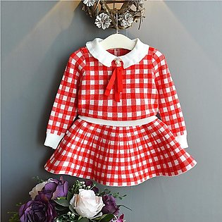 Toddler Kids Baby Girls Plaid Tops Skirt Knit Crochet Sweater Outfits Clothes