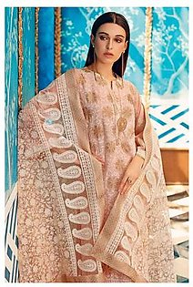 """GA - GA - Gul Ahmed-Summer Collection 2019 L.Peach Embroidered Chiffon Collection-3 PC Unstitched-PM-256 -195997"""""""