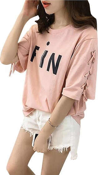 Women Stylish Tie Strap Medium Sleeve Round-neck T-Shirt Simple Printing Loose …