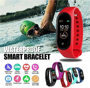 New M4 Smart Bracelet Bluetooth Call Information Push Heart Rate Step Exercis...