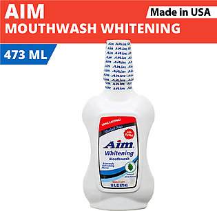 Aim Whitening Mouthwash with Natural Mint Flavor- 473 ML (Made In USA)