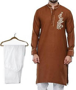 Buy 1 Ready Made Designer Kurta For Men - Design 6 - Brown Chest flower + 1 Pajama