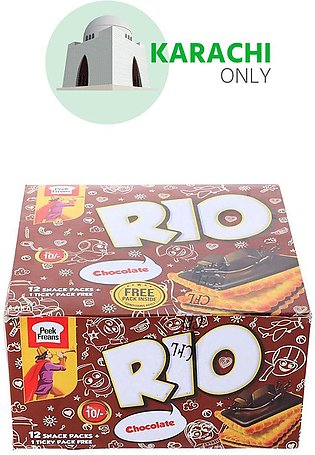Peek Freans Rio Chocolate Biscuit 12 Snack Pack + 1 Ticky Pack Free