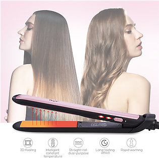 CkeyiN 110-220V 2 in 1 Hair Straightener and Hair Curler Wet Dry Dual Use Ceram…