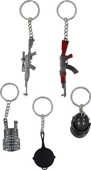 {5 Pack} Metal Keychain PUBG Game Model