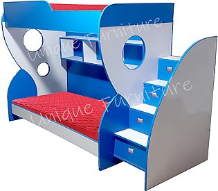 Wooded Lamination Sheet Bunk Bed with side stair boxes Two beds - White blue (k…