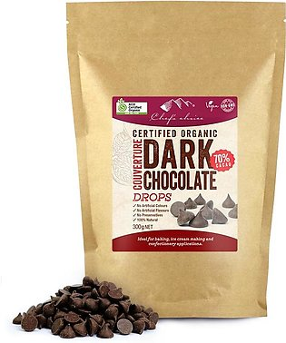 Certified Organic Dark Chocolate Couverture Drops – 70% Cacao 300g