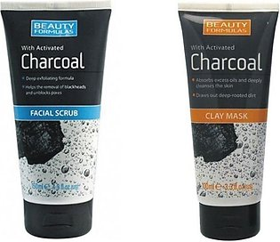 BEAUTY FORMULAS ACTIVATED CHARCOAL CLAY MASK AND FACIAL SCRUB 3.3OZ/100ML EAC...
