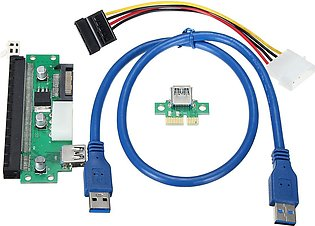PCI-E Express 1x To 16x Extender Card + Riser Adapter w/ USB 3.0 SATA Cable Safe