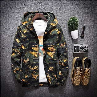 Mens Autumn Casual Fashion Camouflage Printing Plus Size Hoodie Thin Jacket Coat