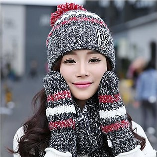Women Winter Hat Scarves Gloves Set Cotton Kintted Pompom Hats Stripe Thick Bea…